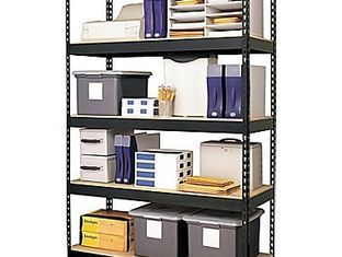 stacking shelves in storage unit